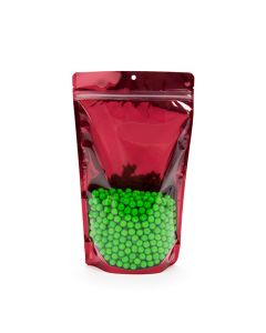 """food safe 6 3/4"""" x 11 1/4"""" red backed zipper bag with clear front"""