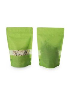 front and rear view of green rice paper pouch