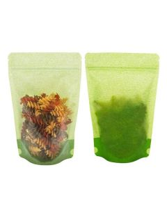 Front and rear view of green rice paper pouch with pasta