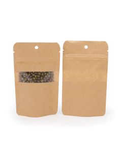 front and rear view of hanging kraft bag