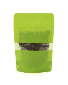packaged coffee beans inside green rice paper zipper pouch