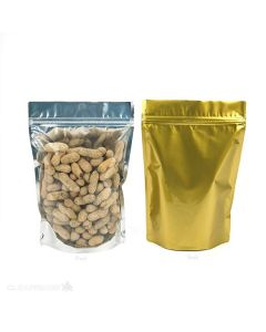 Clear and gold pouch gusset bag