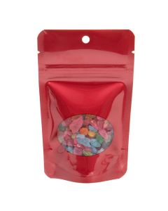 red hanging stand up pouch   1 oz
