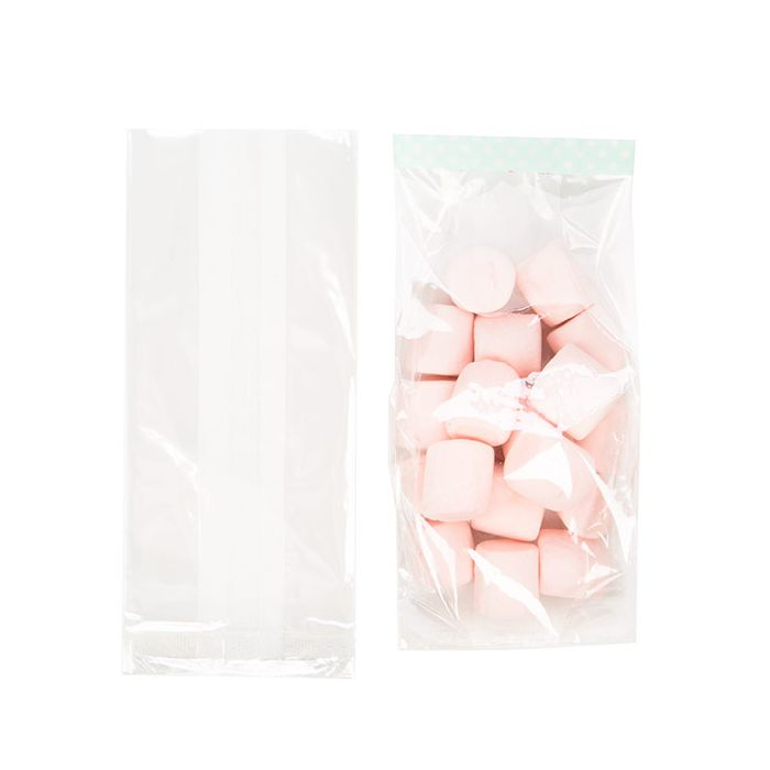 "14/"" x 5/"" x 2.5/"" CELLOPHANE BAGS WITH GUSSET WITH FREE TWIST TIES CHOOSE YOUR QTY"